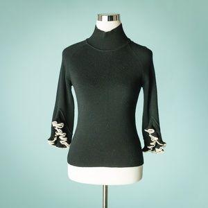 Milly S Black Ruffle Layered 3/4 Sleeve Sweater